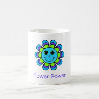 Cute Blue Flower Power Smiley Face Coffee Mug