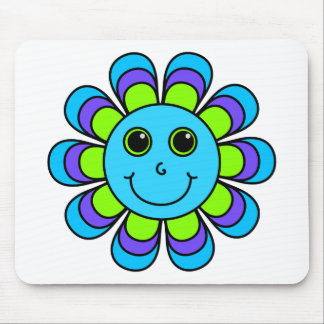 Cute Blue Flower Power Smiley Face Mouse Pad