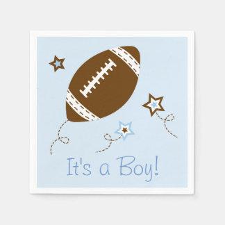 Cute Blue Football Baby Shower Paper Napkin