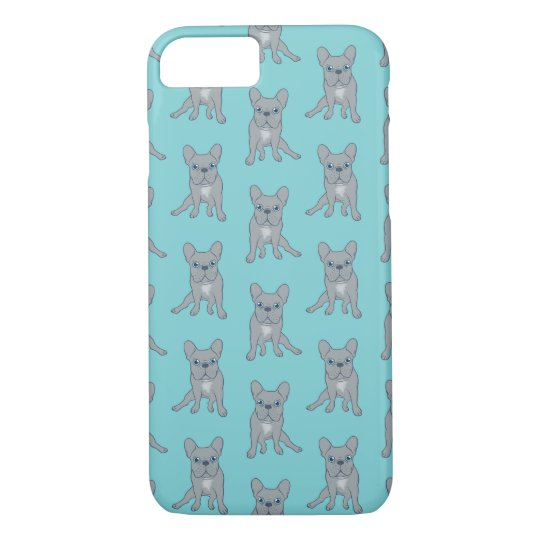 Cute Blue French Bulldog Puppy Digital Art iPhone