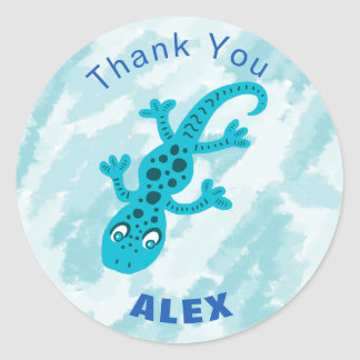 Cute Blue Gecko Lizard Thank You Name Classic Round Sticker