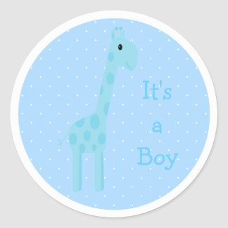 Cute Blue Giraffe Its A Boy New Baby Classic Round Sticker