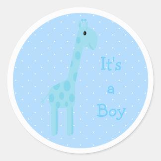 Cute Blue Giraffe Its A Boy New Baby Round Sticker