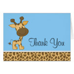 Cute Blue Giraffe Thank You Note Card