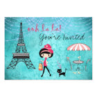 Cute Blue Girl and Cat Paris Birthday Invitation