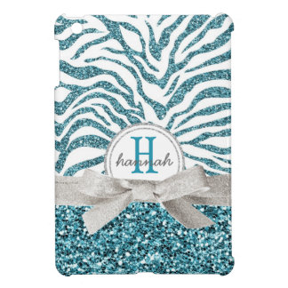 Cute Blue Glitter Look Zebra with Monogram Bow Case For The iPad Mini