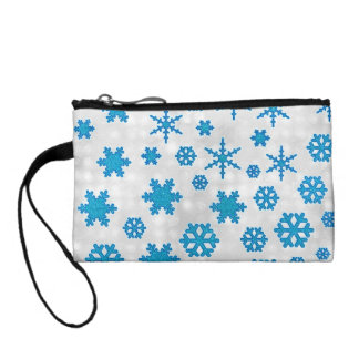 Cute Blue Glitter Snow Flakes on Snowy Background Coin Wallets