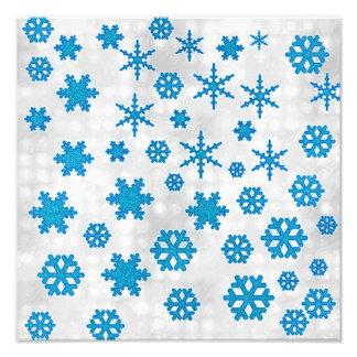 Cute Blue Glitter Snow Flakes on Snowy Background Photo Art