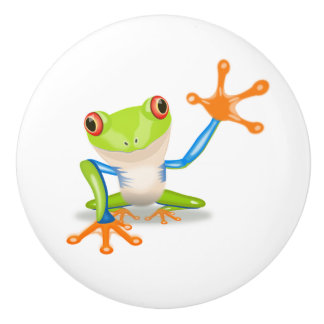 Cute blue, green and orange Frog Waving Hello Knob
