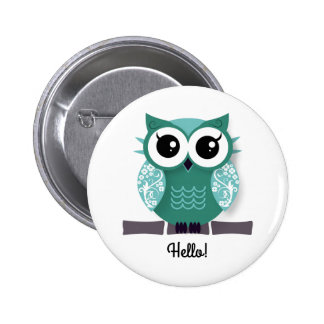 Cute blue green cartoon owl personalized text box 6 cm round badge