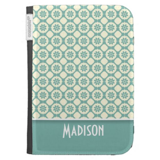 Cute Blue-Green & Cream Floral Kindle 3 Cases