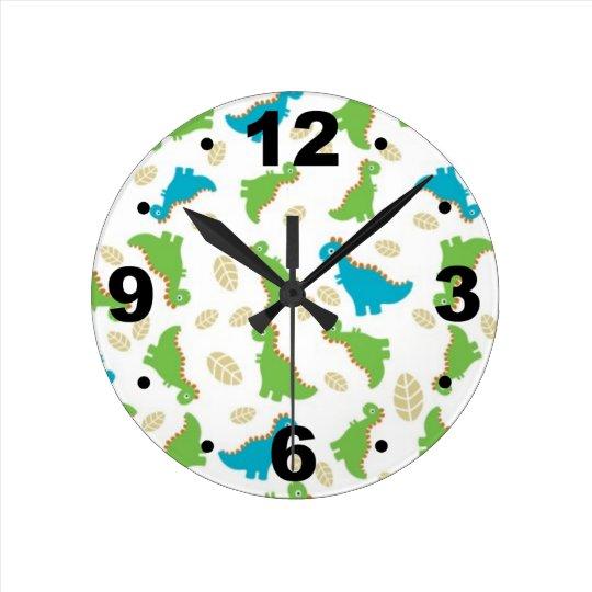 Cute Blue Green Dinosaurs Kids Clock