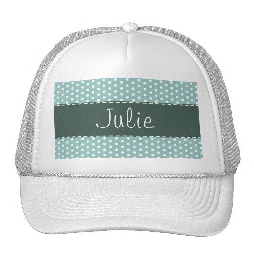 Cute Blue & Green Polka Dot Mesh Hats