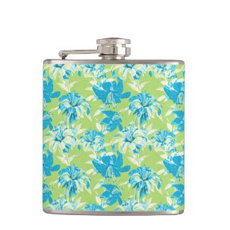 Cute blue green seamless lily floral hip flask