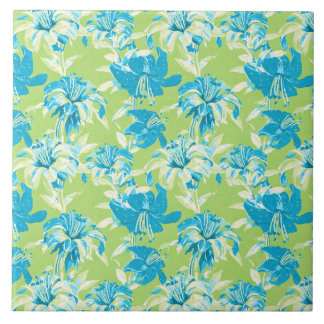Cute blue green seamless lily floral large square tile