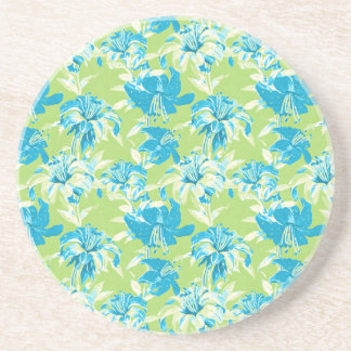 Cute blue green seamless lily floral sandstone coaster