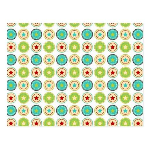 Cute Blue Green Stars inside Circles Pattern Print Postcard