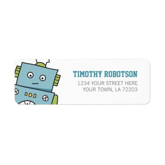 Cute Blue Hand Drawn Robot Return Address Label