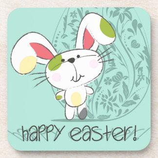 Cute Blue Happy Easter cartoon bunny Beverage Coaster