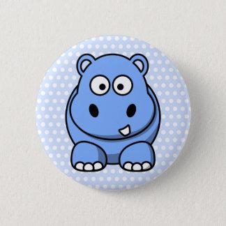 Cute Blue Hippo 6 Cm Round Badge