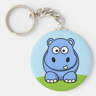 Cute Blue Hippo Basic Round Button Key Ring