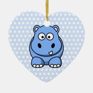 Cute Blue Hippo Christmas Ornament