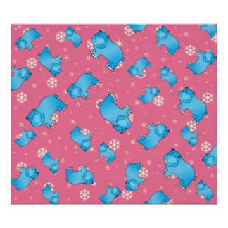 Cute blue hippo christmas pink snowflakes poster