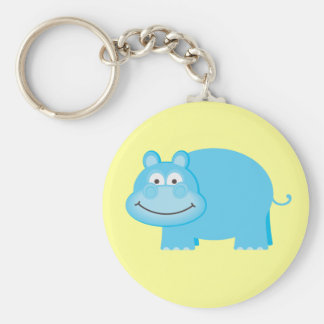 Cute Blue Hippo Keychain