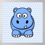 Cute Blue Hippo Print