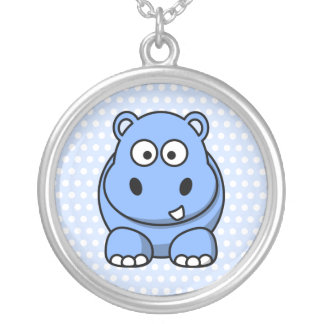 Cute Blue Hippo Silver Plated Necklace