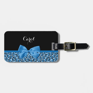 Cute Blue Jaguar Print Bright Blue Ribbon and Name Luggage Tag