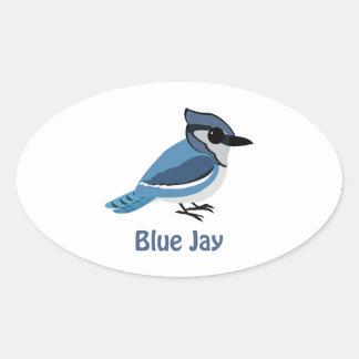 Cute Blue Jay Oval Sticker
