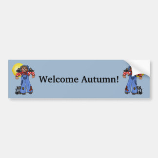 Cute Blue Jean Scarecrows Black Cat Crows Moon Bumper Sticker