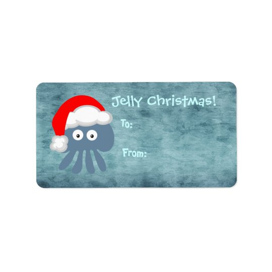 Cute Blue Jelly Christmas Jellyfish Santa Label