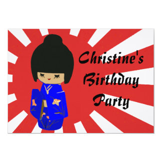 Cute Blue  Kawaii Kokeshi Doll Birthday Invitation
