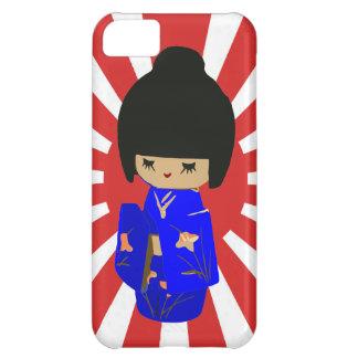 Cute Blue Kawaii Kokeshi Doll on rising sun iPhone 5C Case