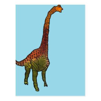 Cute blue kids brachiosaurus dinosaur art postcard