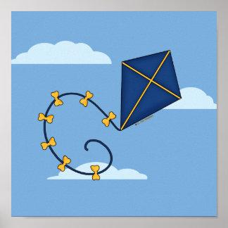 Cute Blue Kite Posters