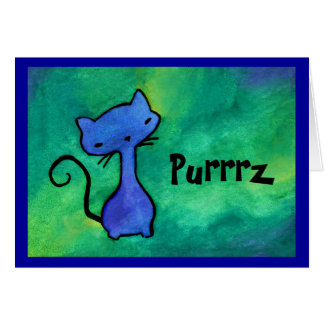 Cute blue kitty cat greeting or note card