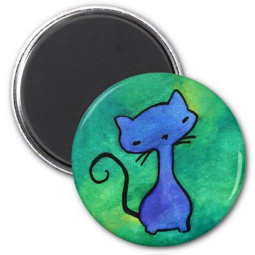 Cute blue kitty cat magnet