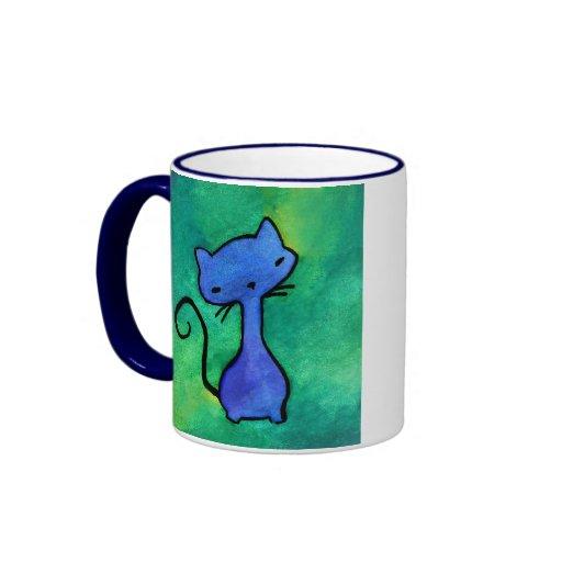 Cute blue kitty cat mug