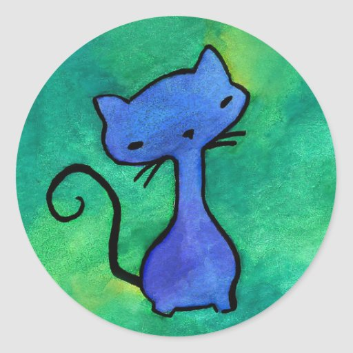 Cute blue kitty on green background stickers