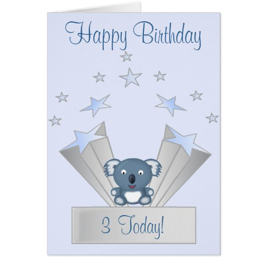 Cute Blue Koala Bear Happy Birthday Age Card