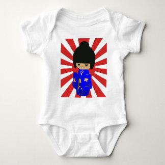 Cute Blue  Kokeshi Doll on rising sun Baby Bodysuit