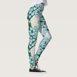 Cute Blue Love Hearts Tree Pattern Leggings