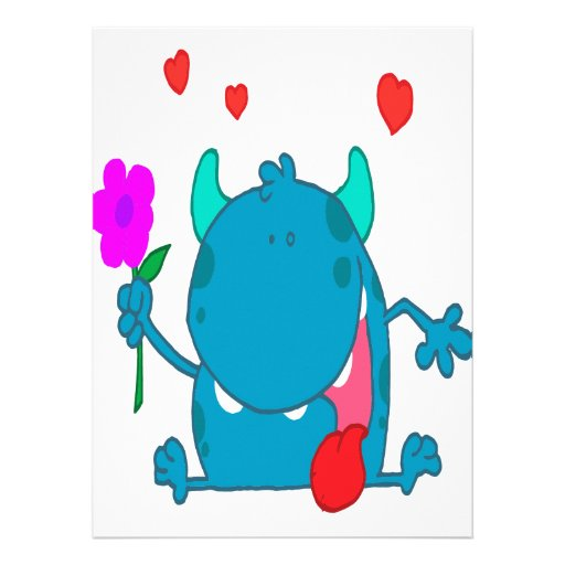 cute blue love monster custom invitation