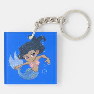 Cute Blue Mermaid (dark hair, dark skin) Double-Sided Square Acrylic Key Ring
