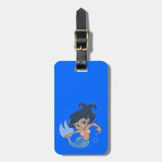 Cute Blue Mermaid (dark hair, dark skin) Luggage Tag