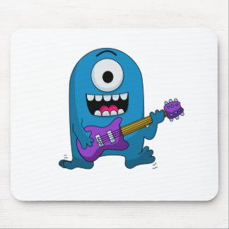 Cute Blue Monster Guitarist Mouse Pad