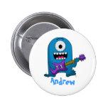 Cute Blue Monster Guitarist Pin